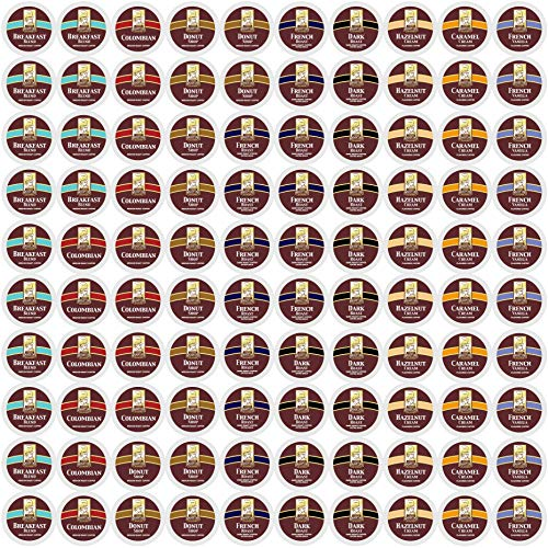 100ct Variety Pack for Keurig K-cups®, 8 Assorted Single Cup Sampler 20% more coffee per cup by Bradford Coffee