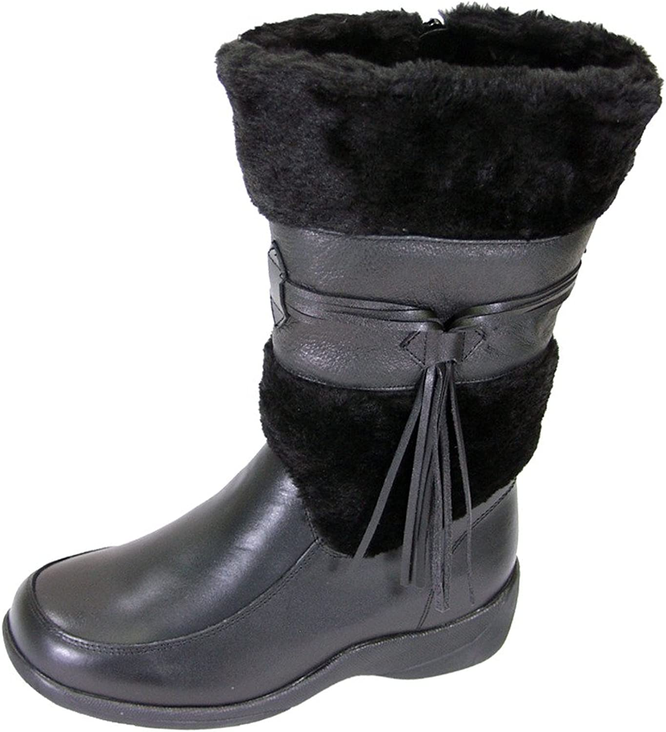Peerage FIC white Women Wide Width Fleece Collared Leather Dress Boot (Size Measurement Guide Available)