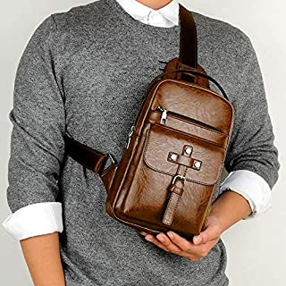 Backpack Universal Fashion Casual Outdoor Men Shoulder Messenger Bags Retro Men Waist Bag, Size: S (26cm x 17cm x 5.5cm)(Black) (Color : Khaki)