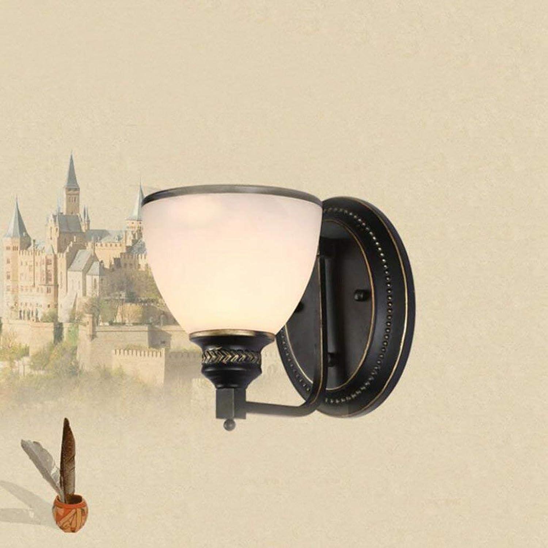 Mariisay Eisen Wandleuchte 1 Restaurant Wandleuchte Schlafzimmer Nachttischlampe VOrangegangen Lampenabdeckung Glas 15X20Cm (Farbe   5W Led Lichtquelle-Größe)