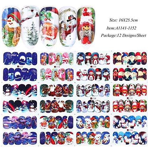 TIANQ 12Pc / Set Weihnachtsstil Nagelaufkleber Schneemann Full Wraps Wassertransfer Aufkleber Winter Nail Art Slider Für Manikürespitze Chbn/A-1, A1141-1152