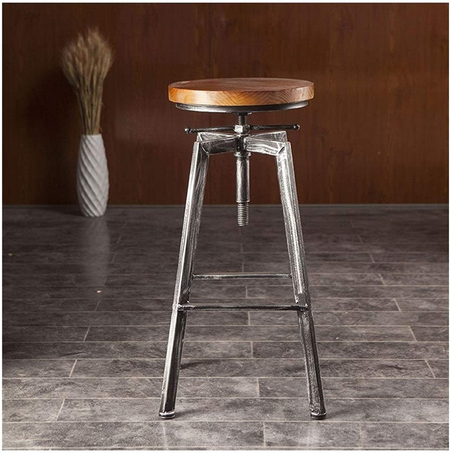 American Adjustable Wrought Iron Bar Stool Coffee Restaurant Bar Chair Leisure High Stool 0521BAR