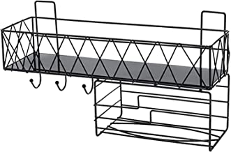 XINHU Zwarte badkamer plank met 3 haken badkamer opslagplank keuken opslag plank wandgemonteerde badkamer plank 41,2cmx 1...