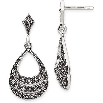 Solid 925 Sterling Silver Curved Chandelier Hook Drop Dangle Earrings in Box