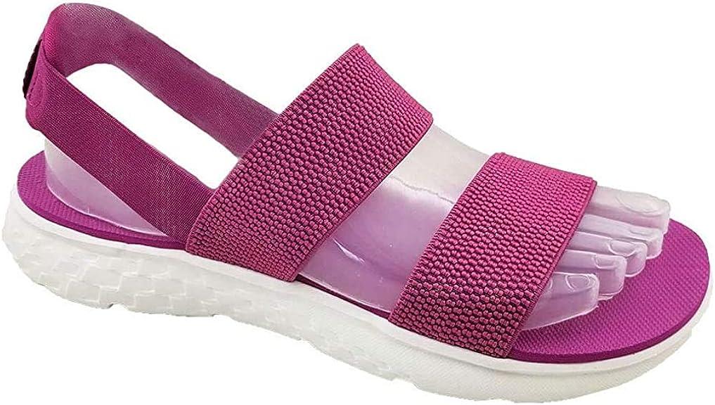 Women's Elastic Strap Sandals Low Platform Lightweight Slip Resi