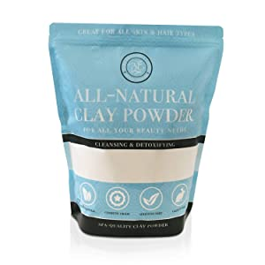 Kaolin White Clay 5 lb Pounds Powder, 100% Natural for Making DIY Spa Mud Mask for Face/Facial, Hair, Body, Soap, Deodorant, Bath Bomb, Setting Makeup, Lotion and Gardening by Bare Essentials Living