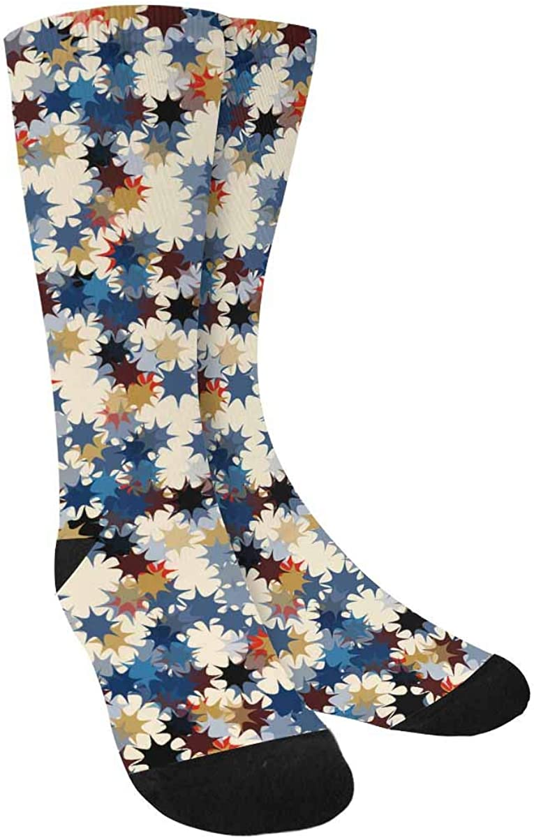 INTERESTPRINT Abstract Colored Stars on a Light Background Outdoor Casual Novelty Custom Socks