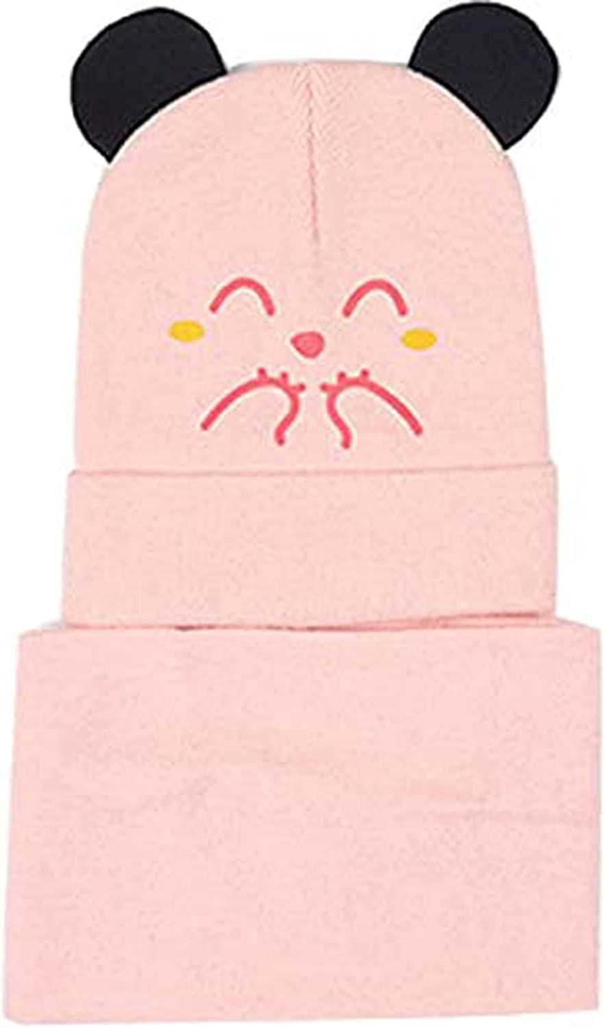 Toddler Baby Beanies Scarf Set Boys Hats Girls Thin Knitted Cap For Kids Soft Warm Winter Cute Cartoon Cat Hat (Cat Pink)
