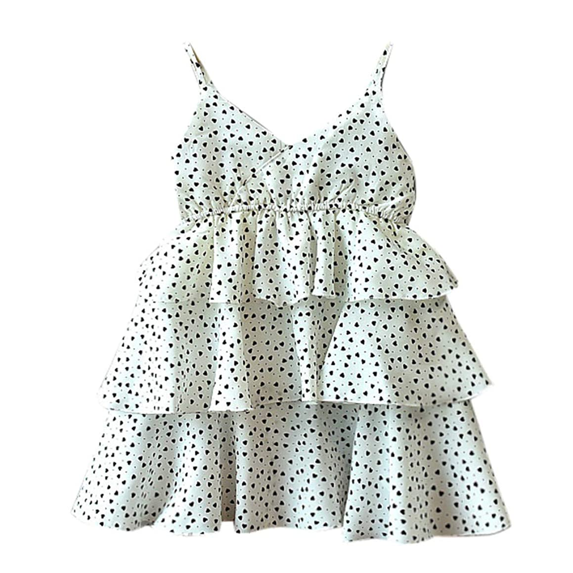 2019 Summer Polka Dot Dress for Baby Sleeveless Love Printing Party Princess Dress for 2-9 Years
