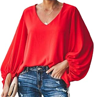 Generic Women's V Neck Blouse Vintage Puff Long Sleeves Loose Pullover Top