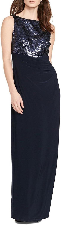 Lauren Ralph Lauren Womens Gleena Sequined Gathered Evening Dress