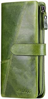 LDUNDUN-BAG, 2019 Leather Fashion Stitching Long Wallet Retro Leather Men's Wallet (Color : Green, Size : S)