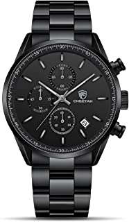 CHEETAH Fashion Business - Reloj de pulsera para hombre con correa de acero inoxidable o piel, impermeable, cronógrafo de cuarzo, para hombre con fecha automática