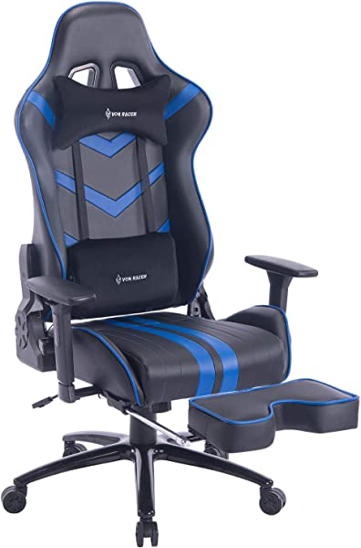 VON RACER Massage Gaming Chair Racing Office Chair Adjustable Massage Lumbar Cushion Retractable Footrest And Arms High Back Ergonomic Leather Computer Desk Chair Blue