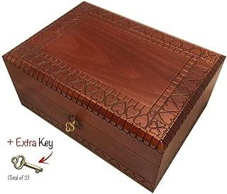 MilmaArtGift Extra Large Wooden Box with Lock and Key Polish Handmade Linden Wood Keepsake Jewelry Box Love Letters Box