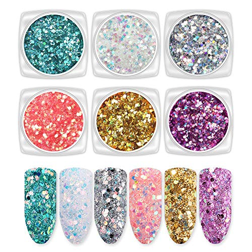 Laza 6 Color Holographic Fine Glitter Sequins Mixed Ultra Fine Glitter Powder Nail Art Flakes Sparkles Set Tips for Acrylic Nails Polish DIY Resin Slime Decoration Women Girls