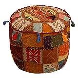 Janki Creation Cubierta otomana marrón algodón Floral Tradicional Muebles reposapiés Asiento Puff Cubierta (18x18x13) étnico puf Cubierta Redonda Indio Patchwork Bordado Pouffe