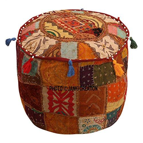Janki Creation Pouf Copertura Marrone Cotone Floreale Tradizionale mobili poggiapiedi Sedile Puff Copertura (22 x 22 x 14) Etnico Pouf Rotondo Indiano Patchwork Ricamato Pouf