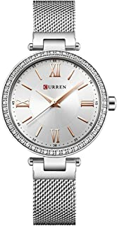Curren 9011 Quartz Movement Round Dial Stainless Steel Strap Waterproof Women Wristwatch - Gold