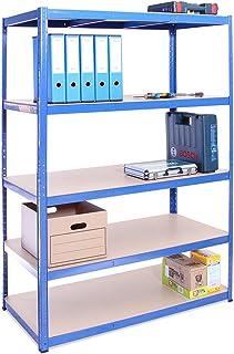 Garage Shelving Units: 180cm x 120cm x 60cm | Heavy Duty Racking Shelves for Storage - 1 Bay, Blue 5 Tier (175KG Per Shelf...