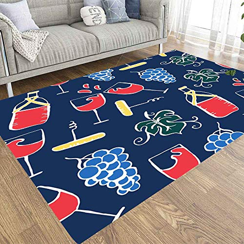 Area Rug,EMMTEEY 3X5 Area Rug Indoor Outdoor,Boys,Girls Area Rugs Use Red Wine Party Pattern...