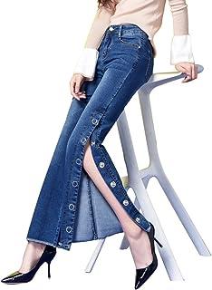 ジーンズ9点ベルパンツ大サイズの女性の弾性スプリットフォークタッセルマイクロズボンプラスジーンズを増やすための肥料 ガールズ (Color : Blue, Size : 26)