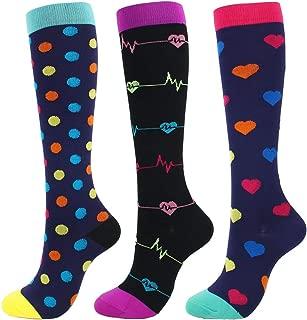 3/6 Pairs Compression Socks Women Men 20-30 mmHg Graduated Athletic Sports Socks