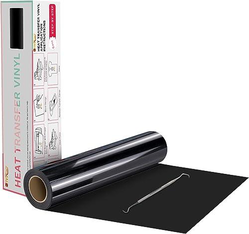 "HTVRONT Black Heat Transfer Vinyl Rolls - 12"" x 20ft Black Iron on Vinyl for Shirts, Black Iron on for All Cutter Mac..."