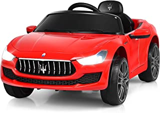 Costzon Ride on Car, 12V Licensed Maserati Gbili, Battery Powered Car w/2 Motors, Remote Control, LED Lights, MP3, Horn, Music, Spring Suspension, Two Doors Open, Kids Electric Vehicle (Red)