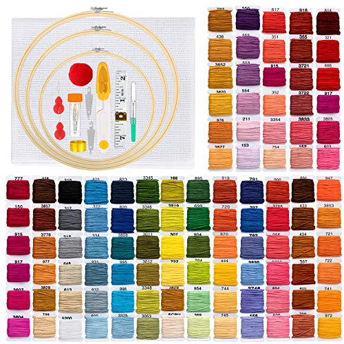 EletecPro Stickerei Set, Anfänger Kreuzstich Set 3 Stickrahmen Bambus108 Stickerei Fäden, 30 Sticknadeln, Bestickter Stoff 2 Stück Stickerei, Kreuzstich Tool Kit für DIY Handarbeit