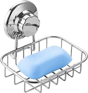 石鹸置き ソープディッシュ スポンジ置き ソープトレイ 石鹸ホルダー しっかり固定 吸盤 強力吸着 水切り お風呂用品 バス用品 ステンレス