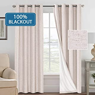 H.VERSAILTEX Thermal Insulated 100% Blackout Textured Linen Room Darkening Curtains for Bedroom 52 inch Wide 84 inch Long Energy Efficient Window Curtain Panels (Natural, 2 Panels)