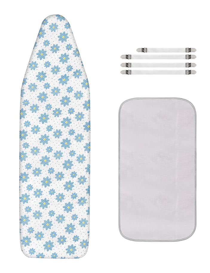 Dalykate Replacement Ironing Board Cover and Pad with Elastic Edge and Scorch and Stain Resistant Thick Padding Ironing Board Covers 4 Fasteners and 1 Protective Scorch Mesh Cloth