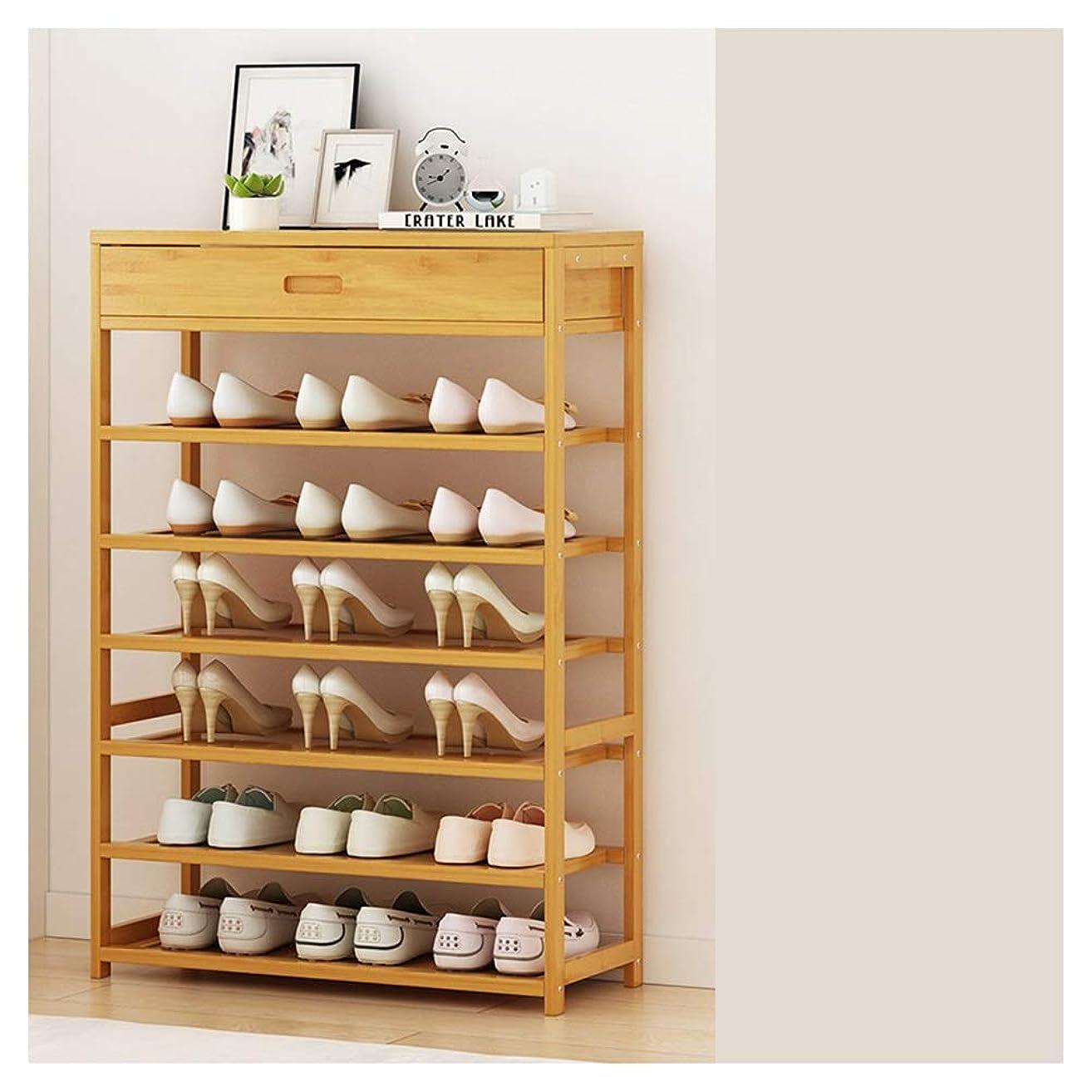 フォーマル呼吸帽子QPSGB 6層の大容量靴ラック、シンプルな家庭用多層引き出し収納ラック、経済的な竹ラックシンプルな木製の靴ラック90 * 25 * 104CM (Size : 70cm)