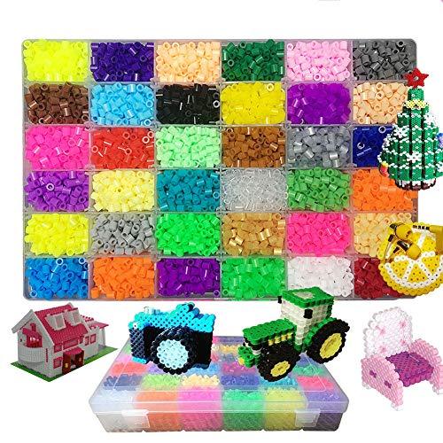 Queta 10000 Pcs Perles à Repasser 36 Couleurs Magique Perles Mini Jouets Artisanat Kit pour DIY Enfants Adultes Décoration Décompression