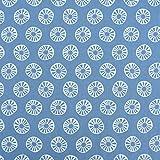 SCHÖNER LEBEN. Baumwollstoff Sonne Kreis blau weiß 1,45m