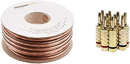 AmazonBasics 14-Gauge Speaker Wire - 50 Feet & Monoprice Gold Plated Speaker Banana Plugs – 5 Pairs – Closed Screw Type, for Speaker Wire, Home Theater, Wall Plates and More