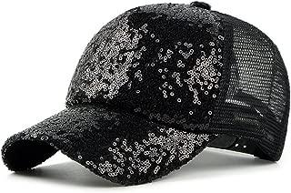 Qunson Womens's Mesh Sequins Trucker Baseball Cap Hat