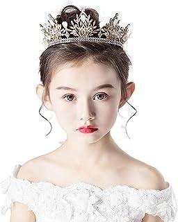 RKY Ragazze Corona, for Bambini Corona Copricapo Principessa Girl Corona di Cristallo Fascia Oro di Compleanno dei Caprett...