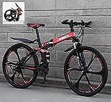 Bicicleta de montaña plegable de 24 pulgadas 21/24/27/30, velocidad variable, cuadro de acero de carbono alto, amortiguación doble (color: A, tamaño: 21 sp), color a, tamaño 30 Speed