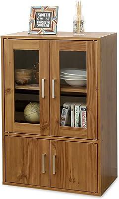 アイリスオーヤマ 食器棚 一人暮らし ミニ スリム 幅60×奥行38.8×高さ90cm ナチュラル GKN-9060