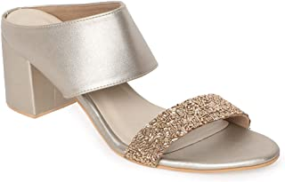 Monrow Ariyah Women's Beige/Gold Ethylene-Vinyl Acetate Block Heel Sandals -UK/IND 3