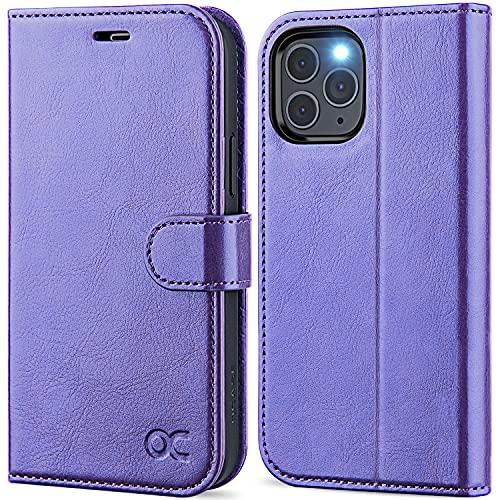 OCASE iPhone 12 Hülle iPhone 12 Pro Handyhülle [Premium PU Leder] [Kartenfach] [Magnetverschluss] Lederhülle RFID Schutzhülle Klapphülle Hülle Cover Etui Kompatibel für iPhone 12/12Pro Violett
