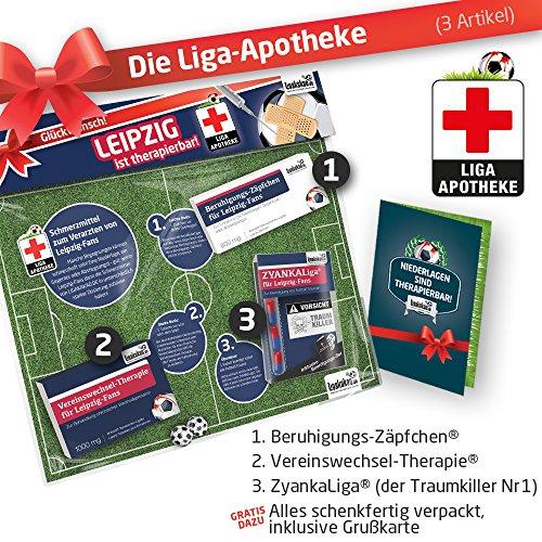 Geschenk-Set: Die Liga-Apotheke für Leipzig-Fans | 3X süße Schmerzmittel für Rasen Ballsport Leipzig Fans | Die besten Fanartikel der Liga, Besser als Trikot, Home Away, Fan-Schal
