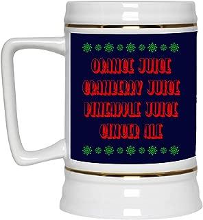 Orange Juice Cranberry Juice Pineapple Christmas Ceramic Coffee Mug - Water Bottle - Color Changing Mug, One Size, 22 oz. Beer Stein/Navy