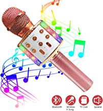 Wireless Bluetooth Karaoke Microphone with Dynamic LED Light, 5 in 1 Portable Handheld Karaoke Speaker Microphone Machine Home KTV Player Music Recorder, for Smartphone Birthday Home Party (Rose Gold)