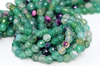 OutletBestSelling Beadwork Art Crafts 6MM Natural Grape Green Cracked Agate Beads Grade A Faceted Round Beads 14