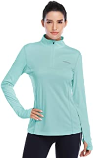 HISKYWIN Womens UPF 50+ Sun Protection Tops Long Sleeve Half-Zip Thumb Hole Outdoor Performance Workout Shirt