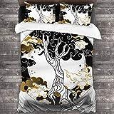 Lichenran 3D Juego Funda De Diseño Personalizado,Tatuaje De Estilo Asiático con El árbol.Boho, gótico, Witchy Vibes,Ropa de Cama Set 1 Edredón 2 Fundas de Almohada Microfibra jueg,220 * 260cm*1