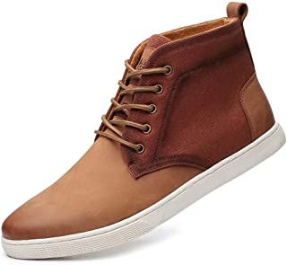 Casual Sneaker Shoes, Lace-up Leather Chukka Boots for Men